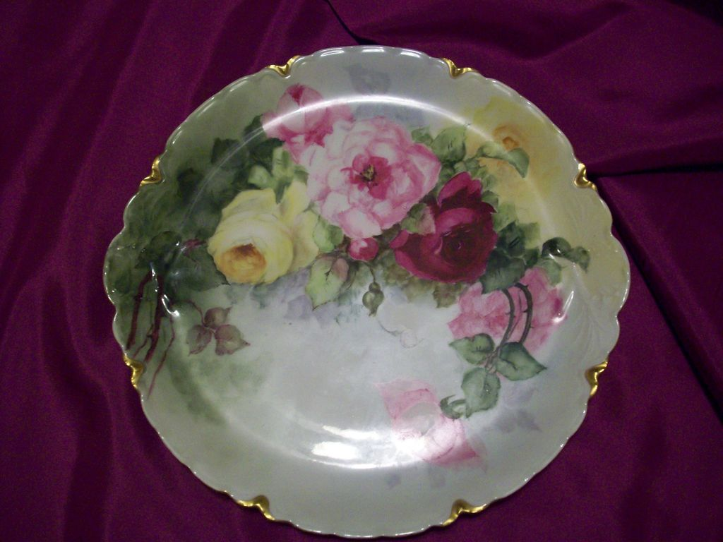 """13"""" Fabulous Haviland Limoges Hand Painted Rose Charger, Artist Signed,Ca  1900s"""