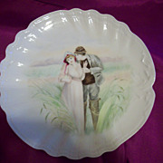 Lovely Limoges Hand Painted Deeply Scalloped Portrait Cabinet Plate, Leon Sazerat  Ca 1891
