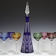 SALE Vintage Czech Bohemian Cut to Crystal Decanter/8 Cordial Liquor Glass Set