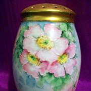 Vintage Fabulous Hand Painted Rose Sugar Shaker Muffineer