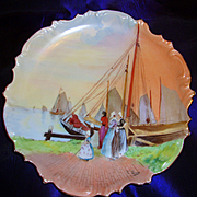 """Limoges Hand Painted Scene Charger Plaque,Artist Signed """"T.Terrier"""""""