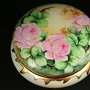 SALE Large Limoges Hand Painted Rose Powder Jar Box, Ca 1907