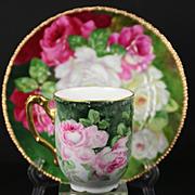 SALE Limoges Hand Painted Rose Cup Saucer Set, Artist Signed,Ca 1890-1910