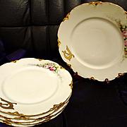 SALE Limoges Haviland France Hand Painted Dinner Plate Set of 6, Artist Signed, Ca 1898-1931