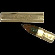 SALE Bar Brooch Art Nouveau Novelty Pin 14 Karat Yellow Gold with Hidden Pencil Holder