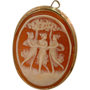 Italian Shell Cameo Three Graces Vintage Pin and Bail 10 Karat Gold Shell Hand-carved