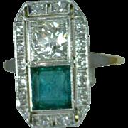 Emerald Diamond Ring Vintage Filigree 18 Karat Yellow Gold