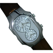 Phillip Stein Watch with Mocha Patine-Leather Band