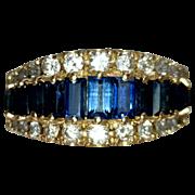 Estate Jewelry Kathy Bates Vintage Blue Sapphire Diamond Ring