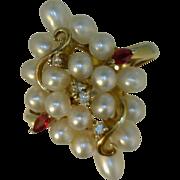 Pearl, Ruby, Diamond Cluster Ring 14 Karat Gold