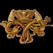 Jewelry Estate Pin Serpent and Crown 14 Karat Gold Kathy Bates