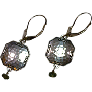 SOLD Repurposed Cufflink Earrings with Green Amethyst Dangles