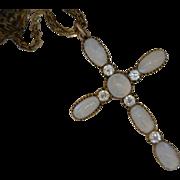 Moonstones Euro-Cut Diamonds Cross Pendant and Watch Chain 10 Karat Gold