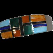 Native American Artisan Gemstone Ring Mosiac Inlay Sterling Silver