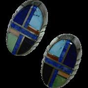 Colorful Navajo Mosaic Inlay Post Earrings Vintage