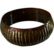 Ribbed Cuff Bracelet Vintage Brass with Copper Interior 1 Inch Wide, Convex, and Handmade 8 In
