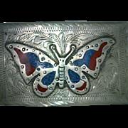 Butterfly Inlay Alpaca Belt Buckle Vintage Mexican