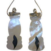 """Antique Mother-of-Pearl and Inlay Silver Leaf Design Earrings """"Promised Collection"""""""