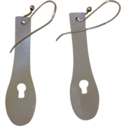 Recycled  Mother-of-Pearl and  Silver Danglng Earrings 1 1/2 Inches Long with Key Hole Shaped