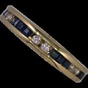 Princess Cut Sapphires 2.50 CTW Round Diamonds 0.75 DW Channel Set in 14K Yellow Gold Eternity