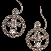 Artisan Earrings Fleur de Lis Emblem Inset In An Open Twisted Frame 925 Sterling Silver Accent