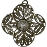 Flower Pendant with Filigree Made by Hand