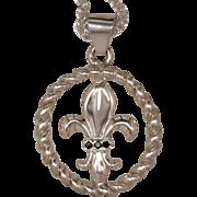 Artisan Pendant Fleur de Lis Emblem Inset In An Open Twisted Frame 925 Sterling Silver Accente