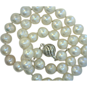 Pearl Strand 10mm White with 14K 585 Spiral Clasp with Diamonds
