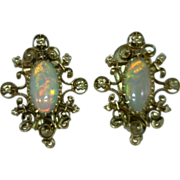 Opal Pearl and 14 Karat Gold Clip Earrings