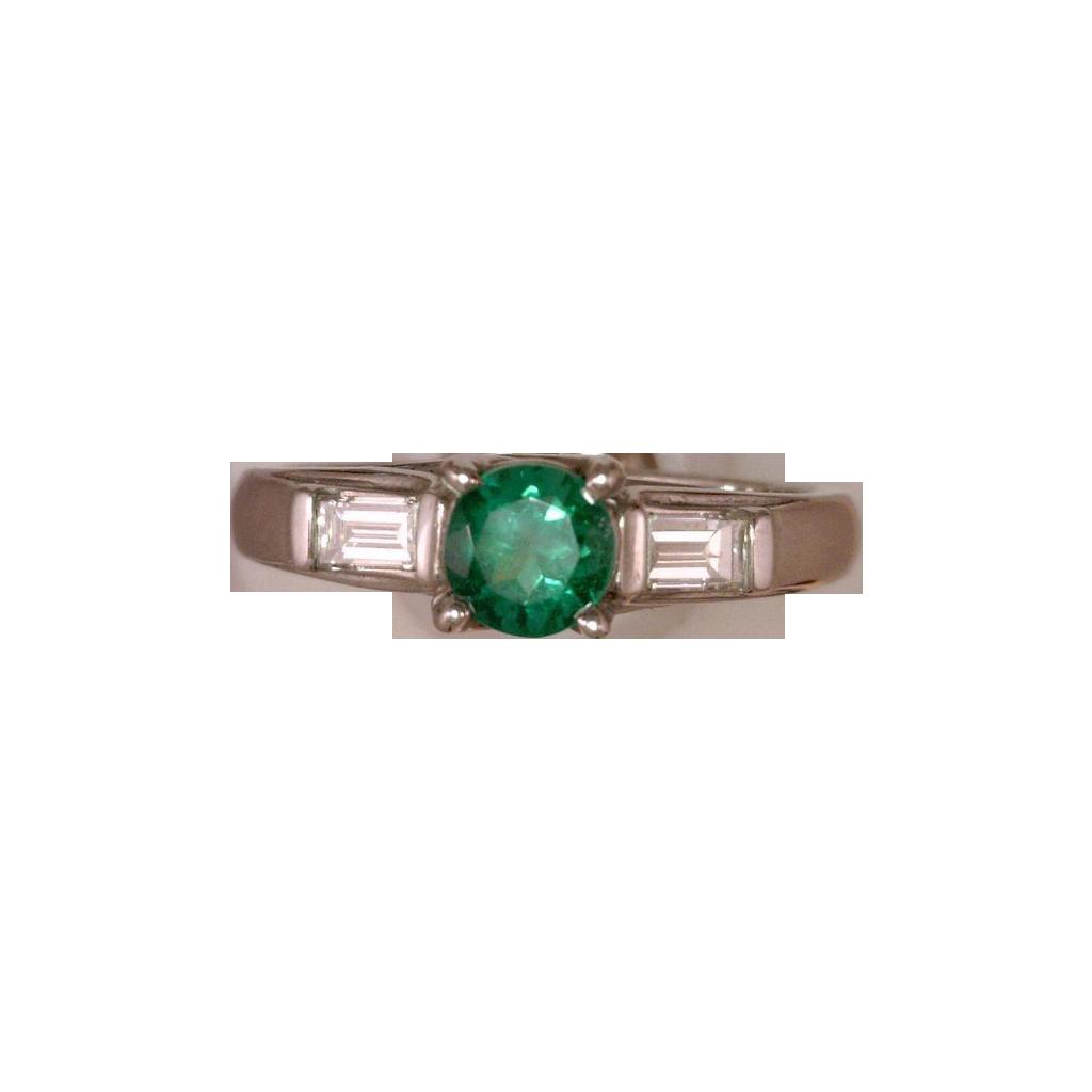 Classic Round Emerald & Baguette Diamond Ring 14 Karat White Gold