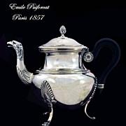 SOLD Emile Puiforcat: Eagle! Antique French Sterling Silver Tea Pot