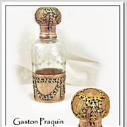Gaston Praquin: Antique French Sterling Silver Vermeil,  Hand Blown & Etched Crystal Perfume Bottle, Complete