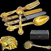 Luneteau: Antique French Silver Vermeil Flatware Service for 18