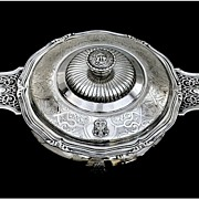 "CARDEILHAC : Antique French Sterling Silver ""Mascaron"" Ecuelle Tureen"