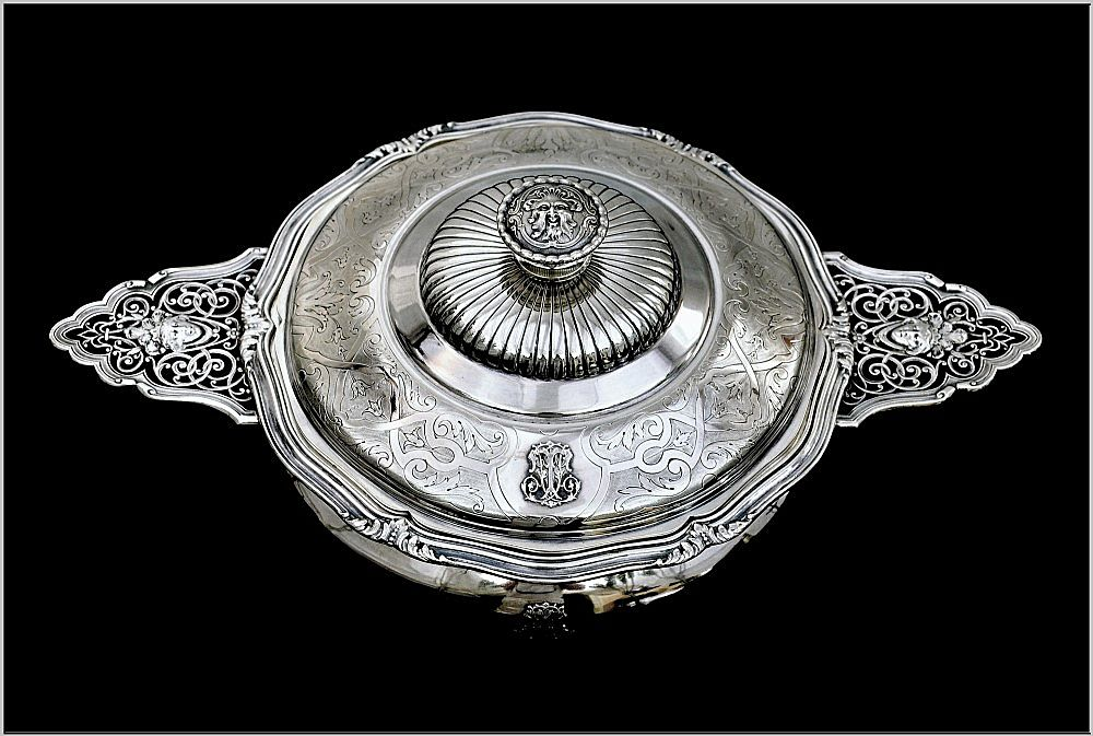 """CARDEILHAC : Antique French Sterling Silver """"Mascaron"""" Ecuelle Tureen"""
