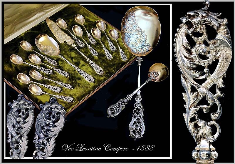 COMPERE: 1888 Antique French Sterling & Vermeil Ice Cream Service