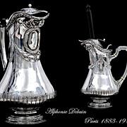 SOLD DEBAIN : Unique Antique French Sterling Silver Chocolate Pot Louis XVI Style,  Moussoir