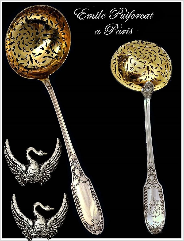 Puiforcat: Antique French Empire Swan Pattern Sterling & Vermeil Sugar Sifter Spoon