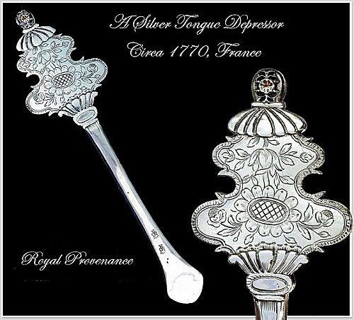Rare Antique French Silver Tongue Depressor Circa 1770: Provenance