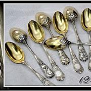 SOLD PUIFORCAT : Unique Antique French Sterling & Vermeil 12pc Dessert Spoon Set -  Courtship