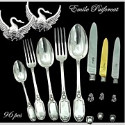 SOLD Emile Puiforcat: Antique French Sterling Flatware Set 8 PC Place Setting for 12! Swans