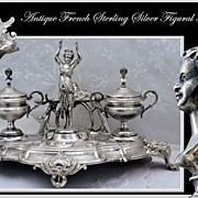 SOLD RARE: Antique French Sterling Silver Double Inkwell Figural Mascarons