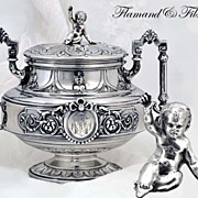 SOLD Flamand & Fils: Fine Antique Sterling Silver Sugar Bowl Lid w Baby Top Knop