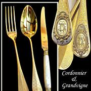 SOLD Cordonnier & Grandvigne: 36 PC French Sterling Vermeil Flatware Set