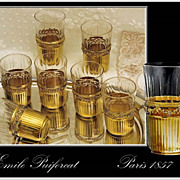 SOLD Emile Puiforcat: Antique French Sterling Silver vermeil & Crystal Shot Glass Set of 10