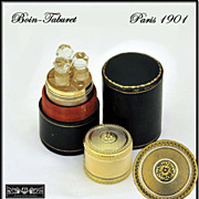 SOLD Boin-Taburet: Antique French Sterling Silver Vermeil Perfume Caddy w Case