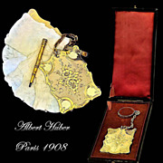SOLD Albert Huber: Antique French Silver Vermeil Carnet du Bal Complete w Presentation Box
