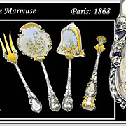 SOLD Marmuse: Antique French Sterling Silver vermeil Hors d'Oeuvre Service: Griffin, Dolphins!