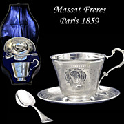 SOLD Massat Freres: Rare! BOXED Antique French Sterling Silver Cup, Saucer & Spoon Set