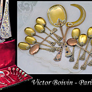 SOLD Victor BOIVIN: Antique French Sterling Silver Vermeil Dessert Flatware Set, Original Box